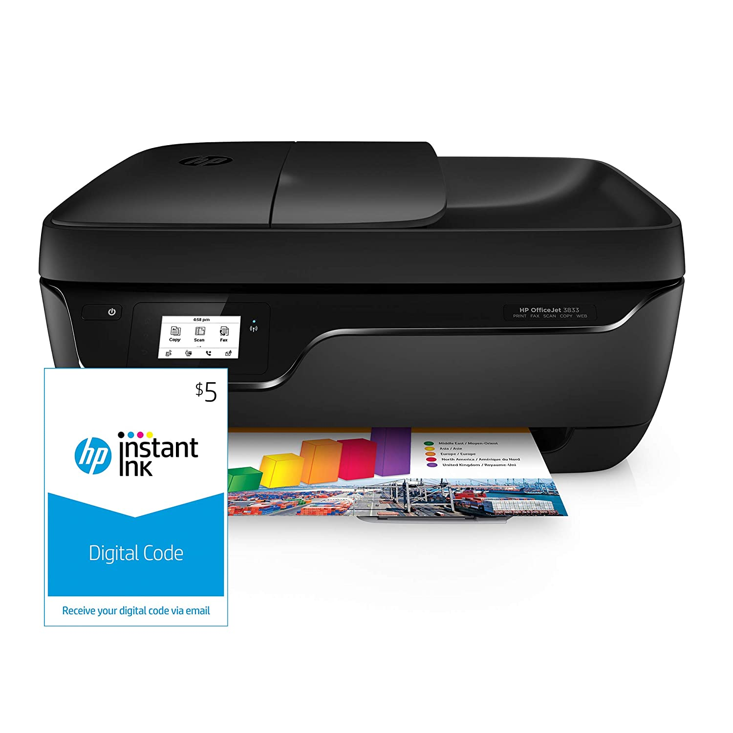 HP OfficeJet 3833 All-in-One Printer, HP Instant Ink & Amazon Dash  Replenishment ready (K7V37A) and Instant Ink $5 Prepaid Code