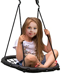 "Sorbus Spinner Swing – Kids Indoor/Outdoor Round Web Swing – Great for Tree, Swing Set, Backyard, Playground, Playroom – Accessories Included (24"" Net Seat)"