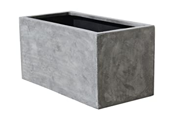Pflanzkübel Aus Beton.Vivanno Pflanzkübel Pflanztrog Pflanzkasten Fiberglas Beton Design Grau Maxi 40x80x40 Cm