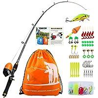 Sougayilang Enfants Canne à pêche avec Moulinet Spincast Canne à pêche télescopique Kits complets pour garçons, Filles et Adultes