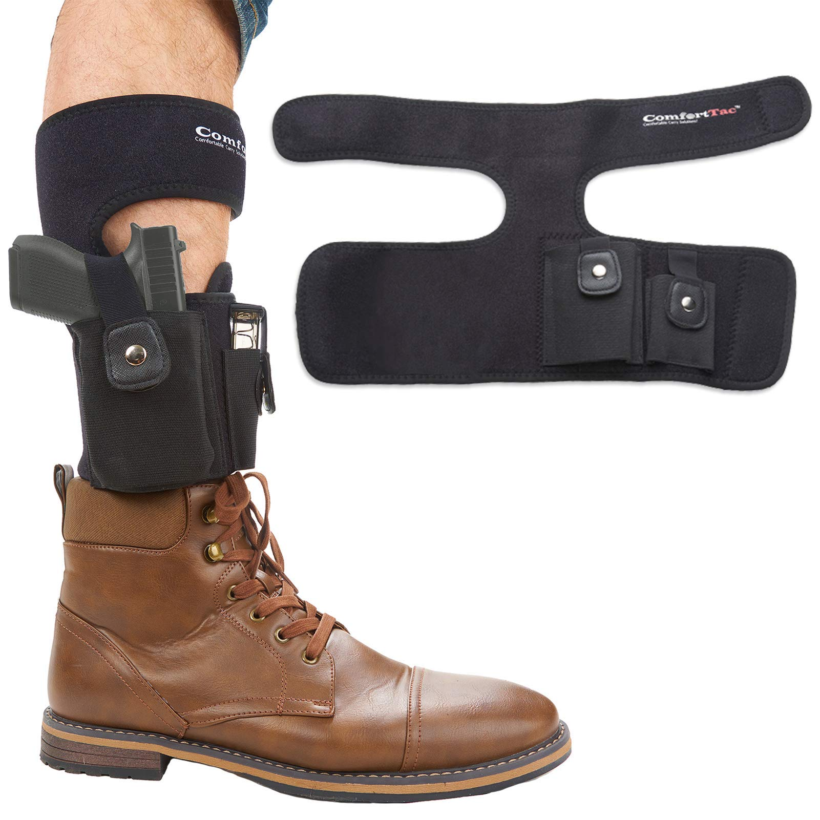 ComfortTac Ankle Holster With Calf Strap and Spare Magazine Pouch For Concealed Carry - One Size Fits Most - Compatible w/ Glock 19, 26, 36, 42, 43, S&W Shield, Bodyguard 380, Ruger LCP, LC9, And More