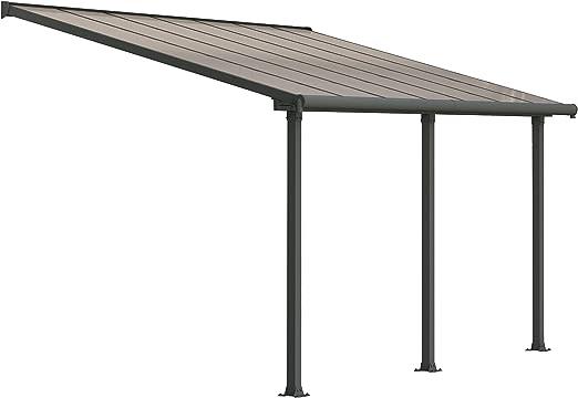 Palram Olympia Pergola Adossée 3x4 Aluminium Et Polycarbonate, pour Couvrir  Une Terrasse Toute L\'année – Garantie 12 Ans (12,5m², Gris)