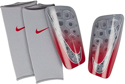 Nike Mercurial Lite – Espinilleras (Adultos, Wolf Grey/Light Crimson/Pure Platinum
