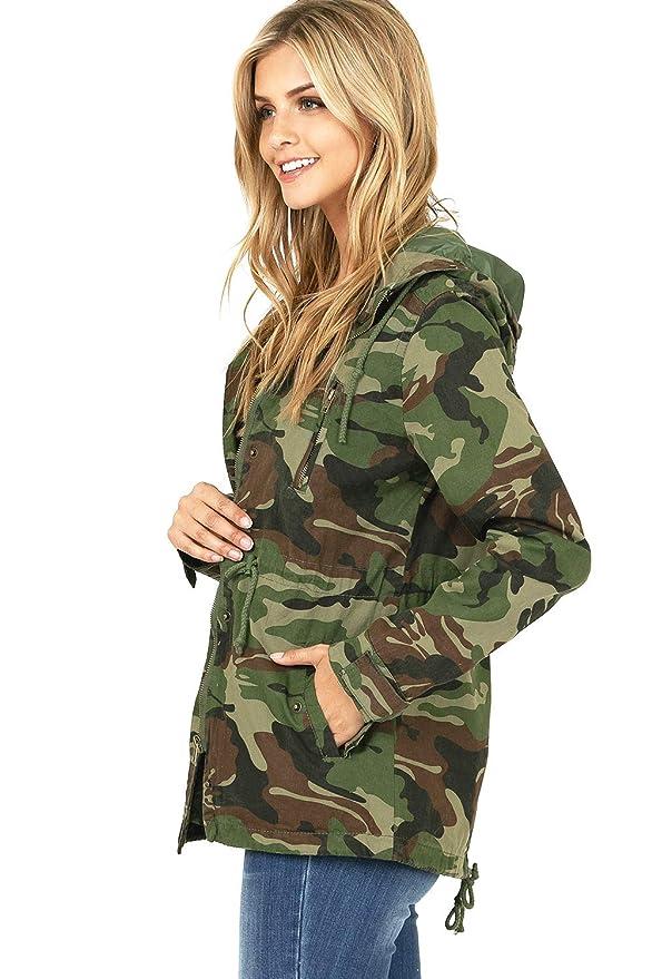 f9f12d3b89 Amazon.com  Ambiance Women s Juniors Camouflage Army Print Utility Cargo  Jacket  Clothing