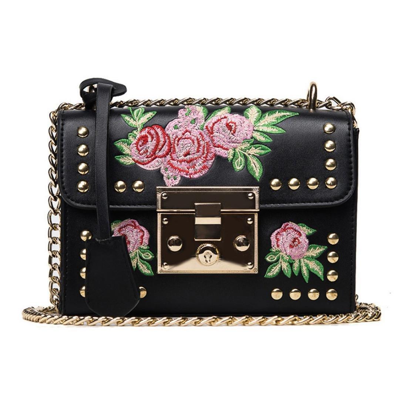 VIASA Women Fashion Messenger Bags Embroidery Rose Crossbody Shoulder Bags Chain Body Bags (Black)