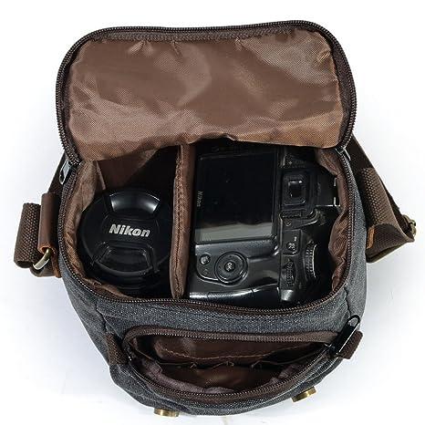 87a53c0cfc DCRYWRX Borsa Per Fotocamera In Tela Di Pelle Borsa A Tracolla Per Borsa A  Tracolla Rimovibile Impermeabile,Lightgrey: Amazon.it: Sport e tempo libero