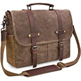 NEWHEY Portafolios para Hombre 15.6 Pulgadas Piel Maletin Laptop Bolsa de Mensajero Impermeable Vintage Cuero Maletín de Lona