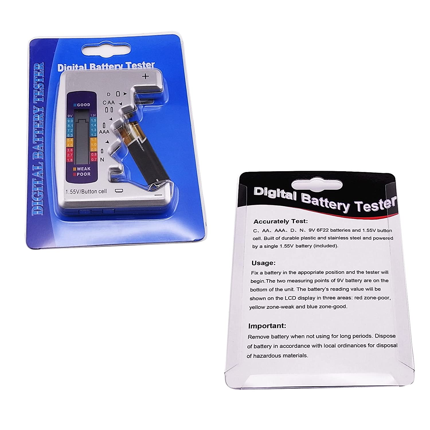 and 1.55V batteries 6F22 Battery Tester Checker 7 Seven Type of Battery C AA AAA D N 9V