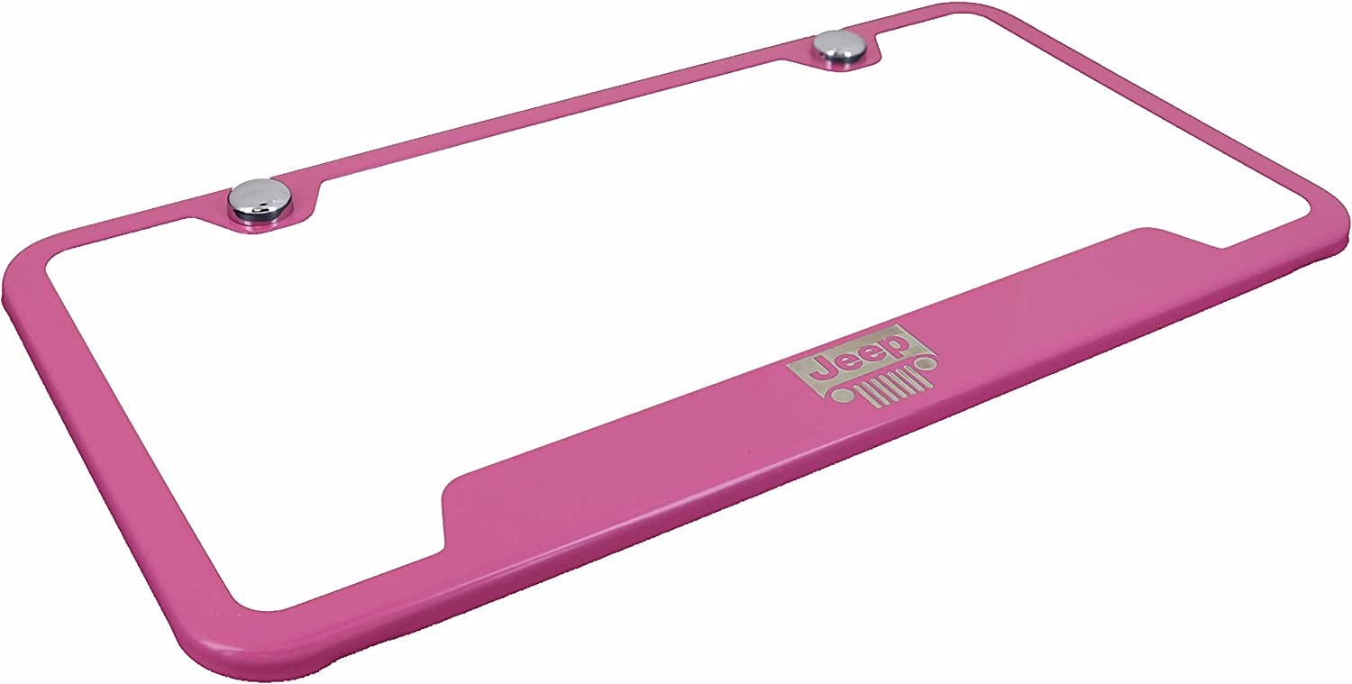 Automotive Gold Laser Etched Pink Jeep Grille Cut-Out Frame