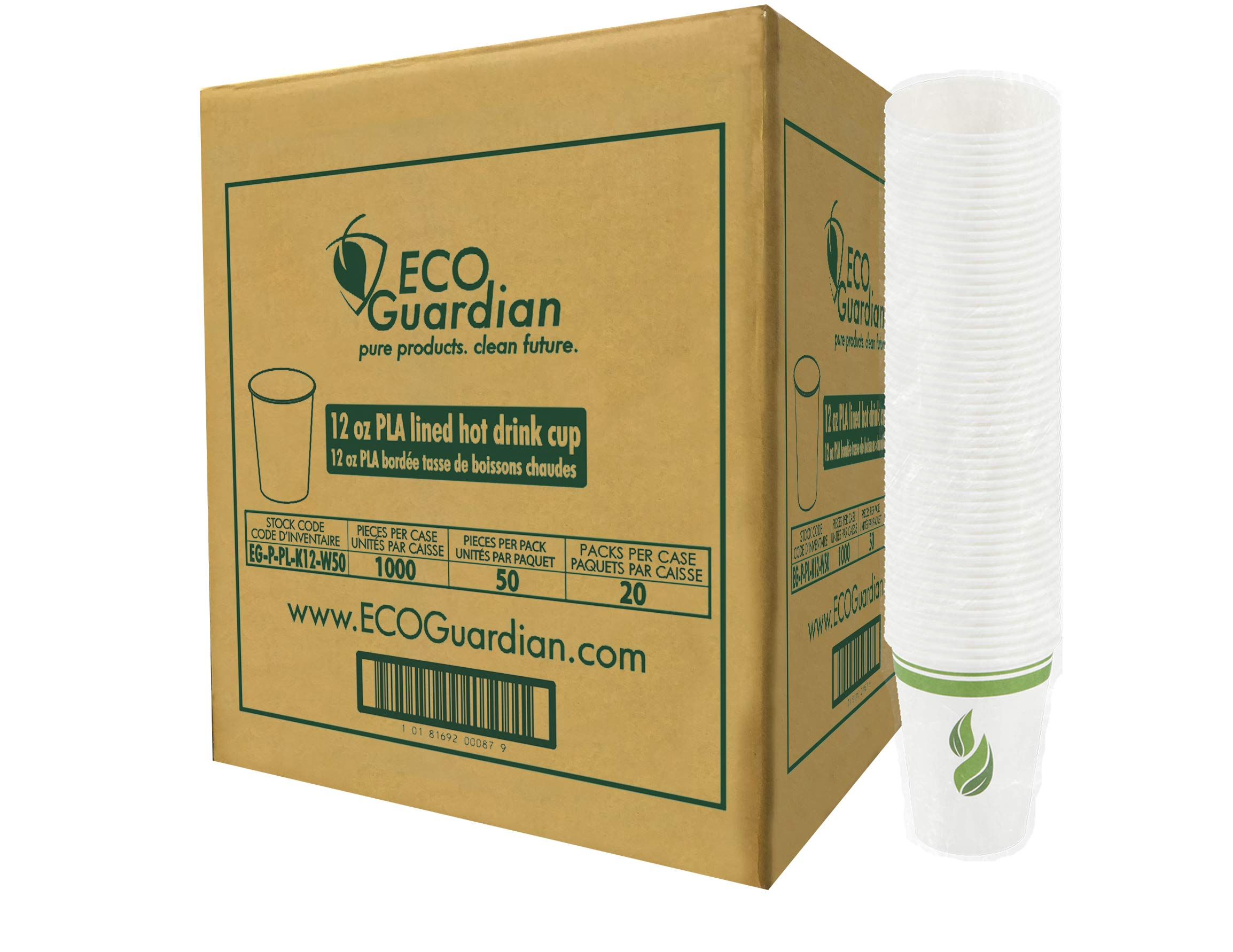 Eco Guardian 12 Ounce Compostable PLA-Lined Drinking Cup, White, 1000 Pack by Eco Guardian (Image #2)
