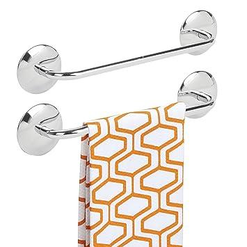 mDesign Juego de 2 toalleros de baño sin taladro – Toallero adhesivo de acero inoxidable para