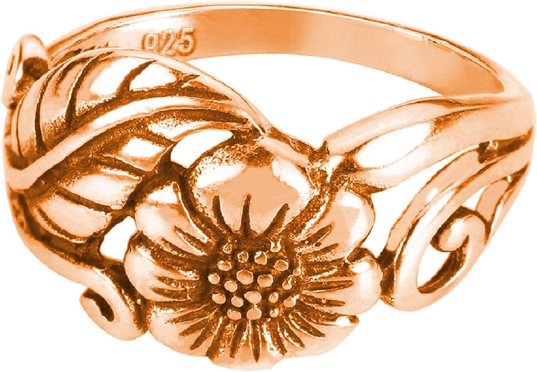 CloseoutWarehouse Sterling Silver Karen's Flower Ring (Sizes 2-15)