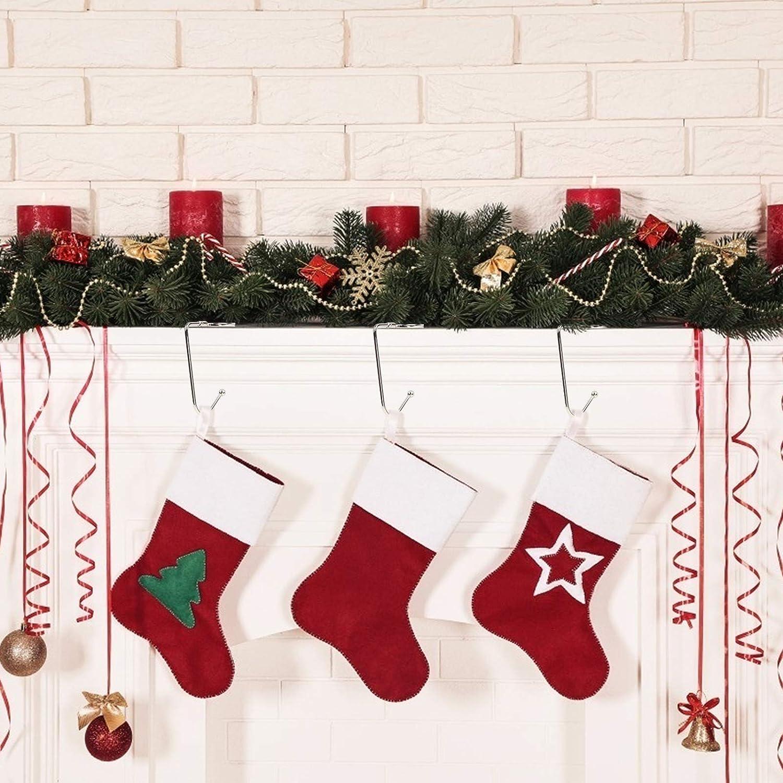 Pack de 6 BELLE VOUS Ganchos para Calcetines de Navidad Gancho Bota Chimenea Navidad con Parte Superior Roja Verde Blanca Gancho Antideslizante Seguridad Gancho Decoraciones de Navidad Fiesta