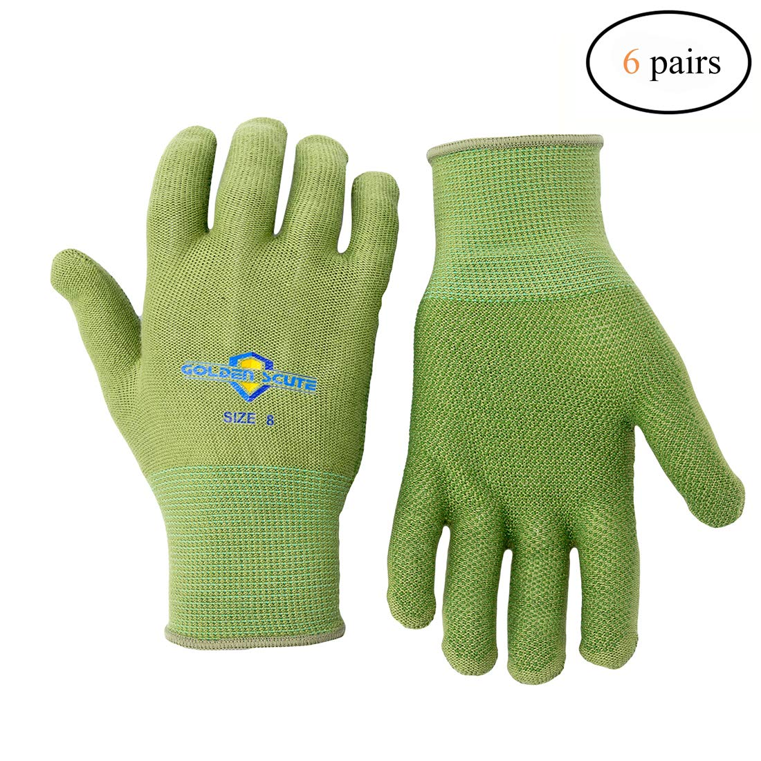Golden Scute Bamboo Dotted Working Gloves, Breathable, Keep Hands Cool, Sweat Proof, Comfortable Safety Gloves for Light Work Gardening, Fishing, Restoration Work, 6 Pairs (Medium/Size 8)