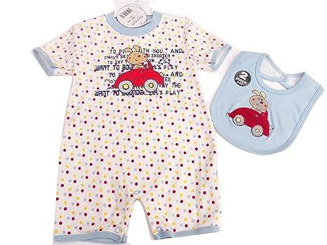 BNWT bebé niños todo en uno traje de conejo de lunares pelele jugar con babero 6