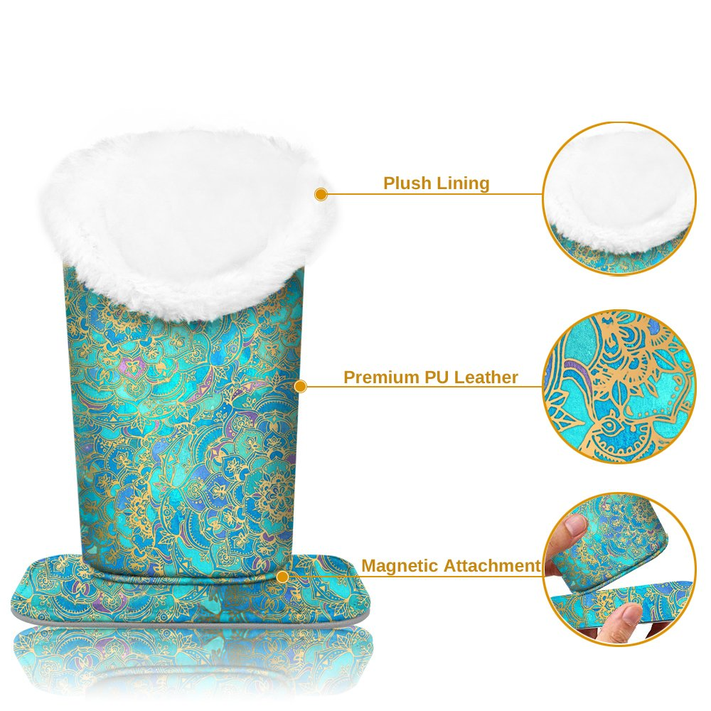 Plush Lined Eyeglasses Holder - Fintie Premium PU Leather Anti-scratch Dustproof Protective Eyeglass Stand Case with Magnetic Base (Shades of Blue) by Fintie (Image #6)