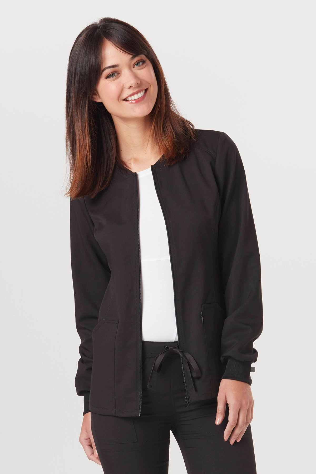 Code Happy Women's Zip Front Warm-up Solid Scrub Jacket, Pewter, XX-Small