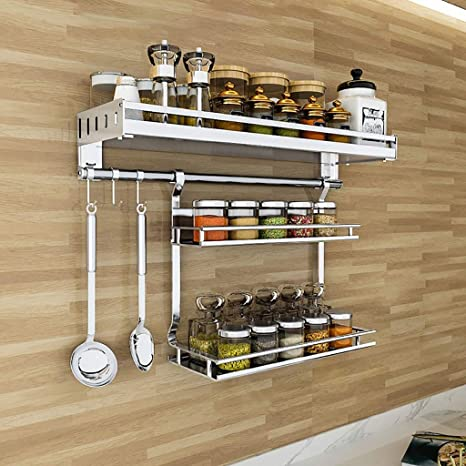 Stainless Steel Wall Mounted Kitchen Storage Organizer Shelf Condiment Holder