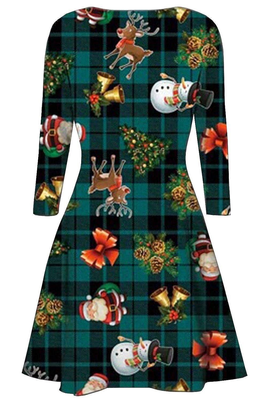 New Womens Xmas Gift Bells Tartan Santa Snowman Flared Swing Dress 8-30