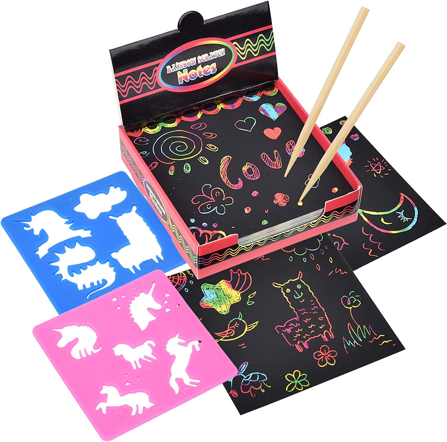 Scratch Arts [125 Sheets + 2 Wooden Stylus + 2 Stencils] Arts and Crafts 71% OFF £5.82 @ Amazon