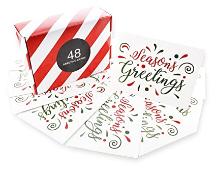 Amazon 48 pack of christmas winter holiday family greeting 48 pack of christmas winter holiday family greeting cards seasons greetingsquot red green m4hsunfo