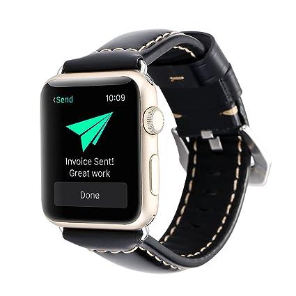 FuLanDe Correa de Reloj Inteligente para Apple Watch, iWatch, Correa de Piel cromática,