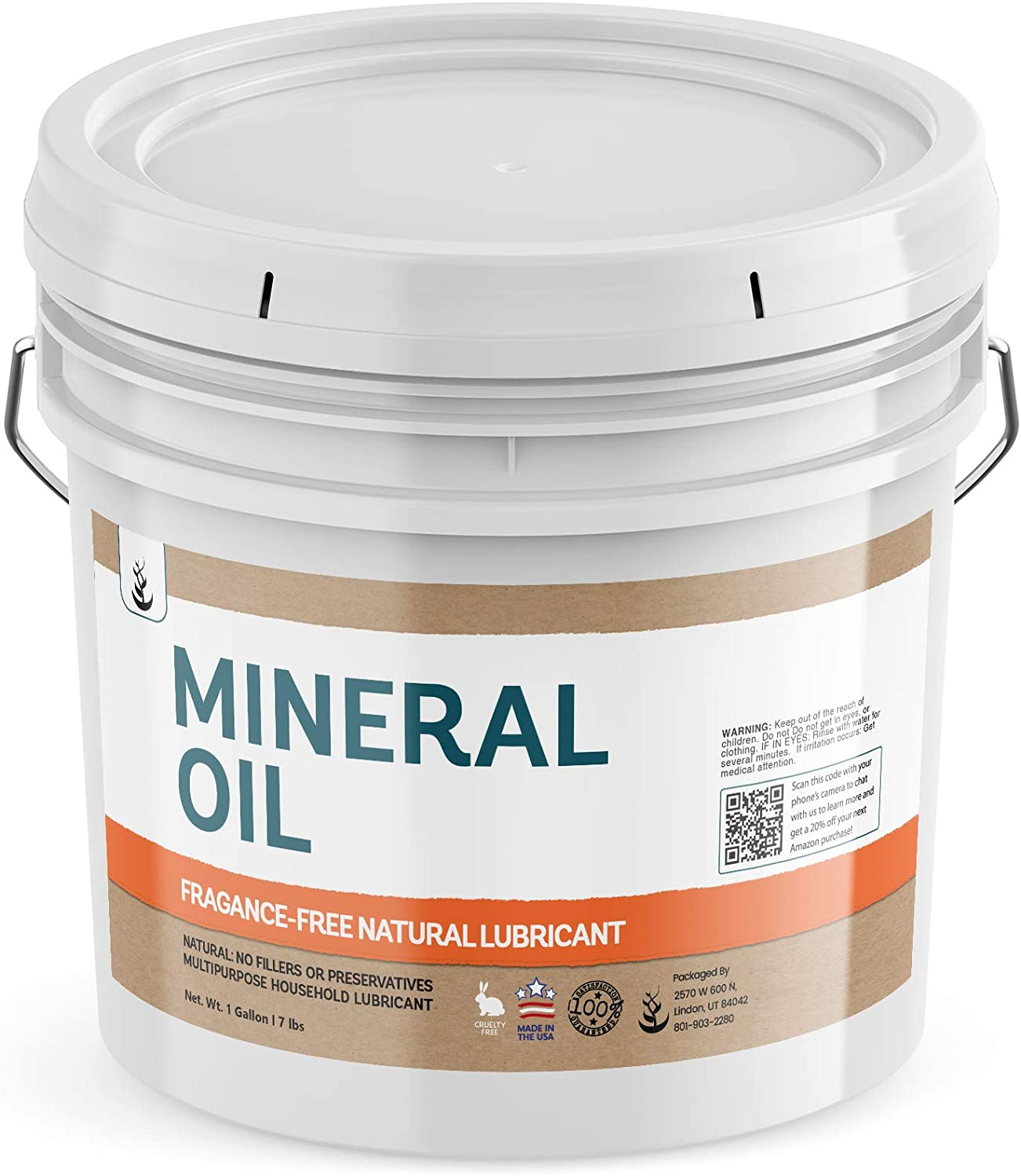 Mineral Oil (1 Gallon Bucket) by Pure Ingredients, Resealable Bucket, Food & USP Grade, Fragrance-Free, Wood Conditioner, Stainless Steel Polish, Moisturizer, Makeup Remover, Lubricant