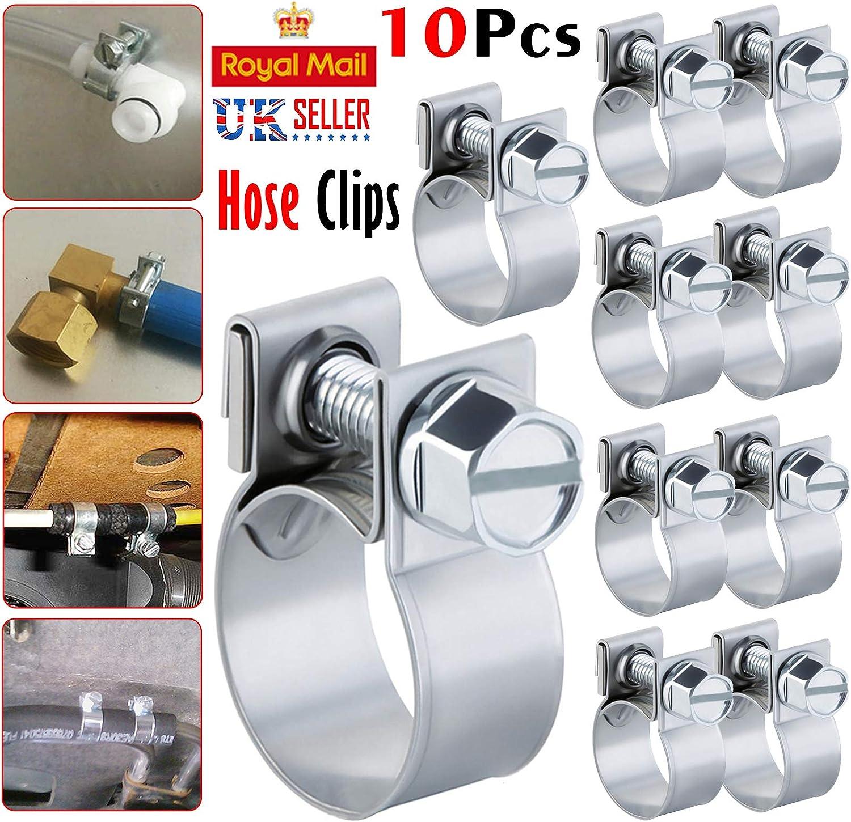 12-14mm ADPDP17 10x Mini Fuel Line Jubilee Hose Clips Clamp Diesel Petrol Pipe Coolant Radiator