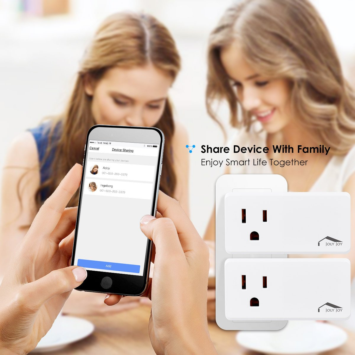 Smart Plug WiFi Outlet, Compatible With Alexa, Echo/Dot, Google Home/Mini and IFTTT, JolyJoy Smart Socket with Multiple Timer, Voice/App Remote Control, No Hub Required, 125V, 10A,1250W (2 Pack)