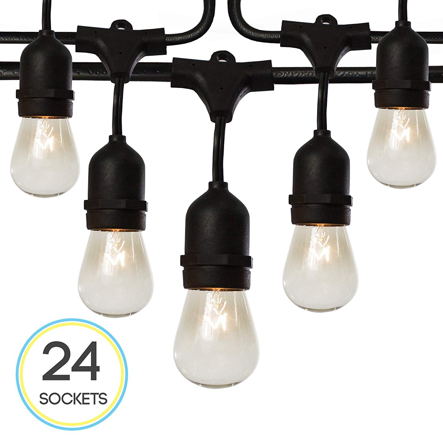 Fulton Illuminations S14 24 Bulbs Outdoor String Lights with 6 Extra Bulbs and 13 Ft Extension Cord, 48 Feet - Commercial Weatherproof Patio String Lights