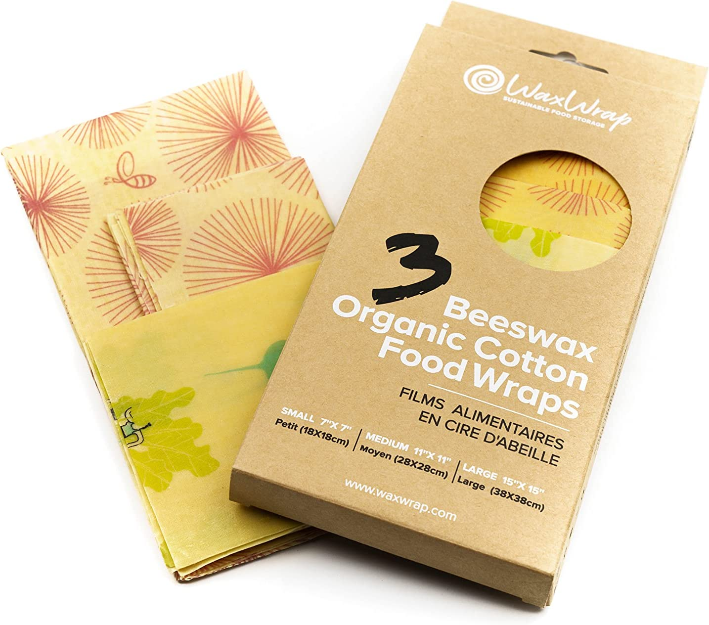 WaxWrap Beeswax Food Wraps – 3Pcs Reusable Food Wrap – Organic Cotton Bees Wax Wrap – Small, Medium, Large|Eco-Friendly – Ideal for Bread Fruit Cheese