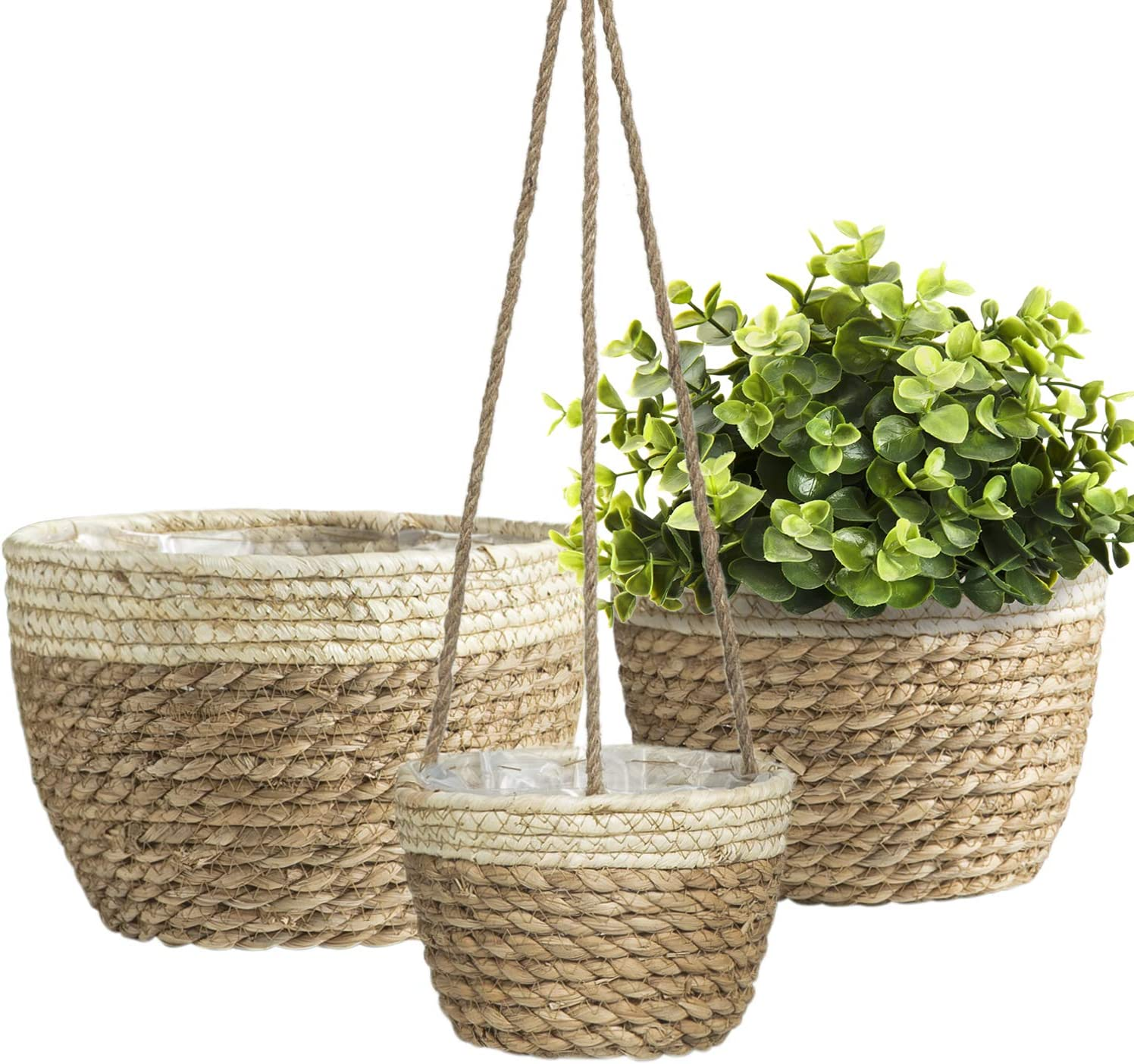 3pack Seagrass Farmhouse Planter Basket, Flower Pots for Plants Indoor Outdoor, Large House Plant Pots 10 inch, Planter Gardening Pots Cover, Hanging Planter Baskets Decor Plant Pots Indoor