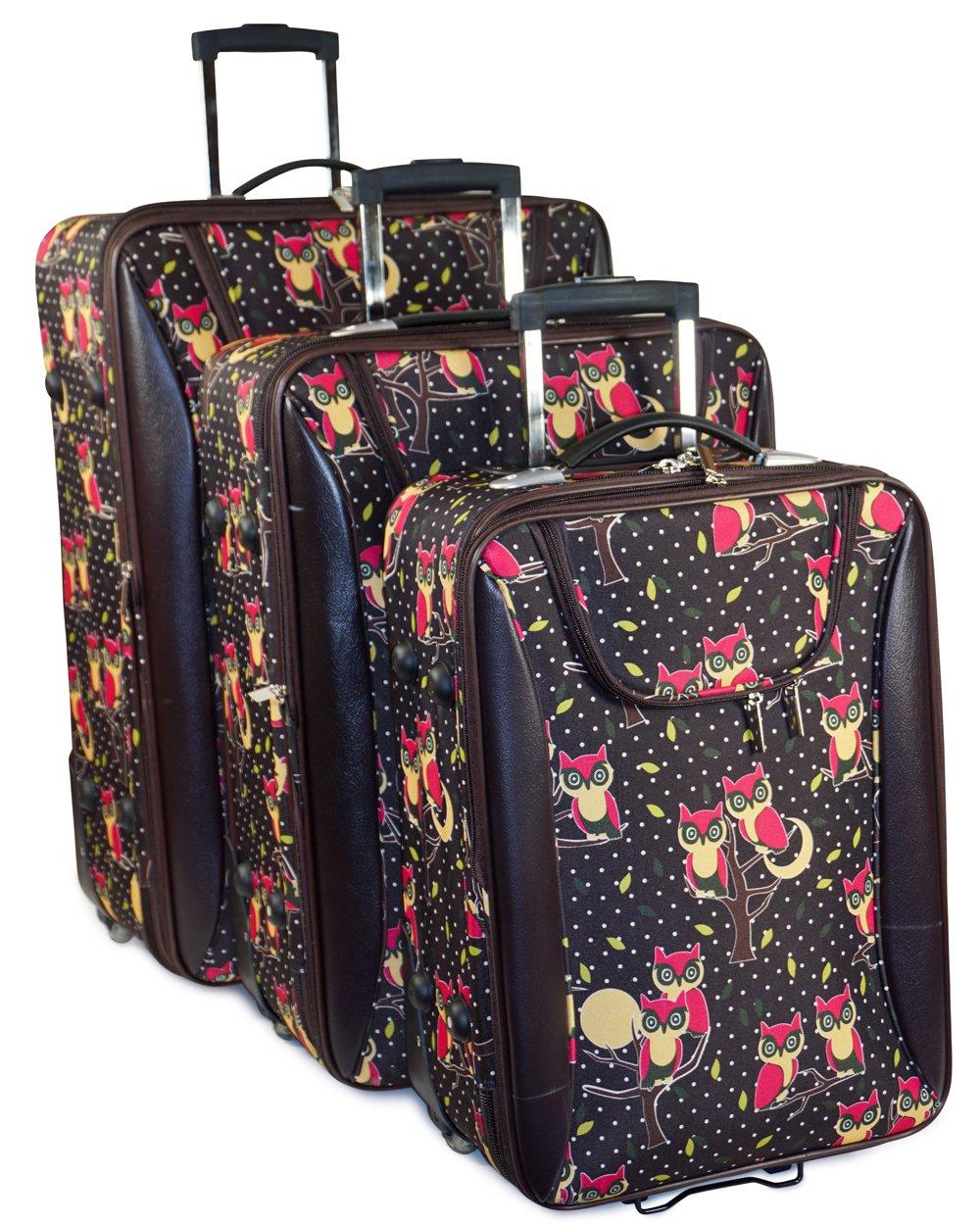 J Garden Brown Owl Print 3 Piece Expandable Luggage Set