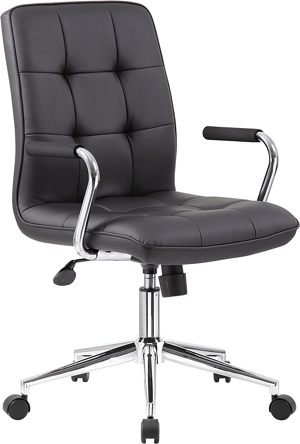 Boss Office Products Modern Office Chair with Chrome Arms, Traditional, Black