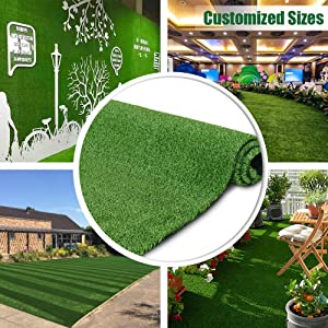 Synthetic Artificial Grass Turf 3FTX15FT Indoor Outdoor Balcony Garden Decor, Drainage Holes Faux Grass Rug Carpet for Pets
