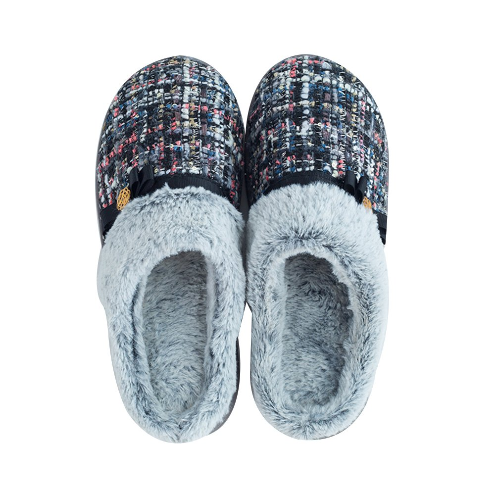1994Fashion Women's Slippers with Plush Lining Comfy Indoor House Slippers Soft Sole Anti Slip Bedroom Shoes-Blue-38-39
