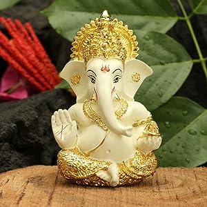 NOBILITY Gold Plated Ganesha Idol Murti for Car Dashboard Gift Ceramic Idols Showpiece for Home Pooja Room Mandir Puja Diwali Decor Items