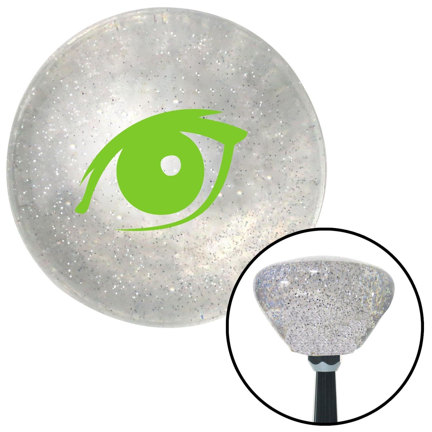 American Shifter 160617 Clear Retro Metal Flake Shift Knob with M16 x 1.5 Insert Green One Eye