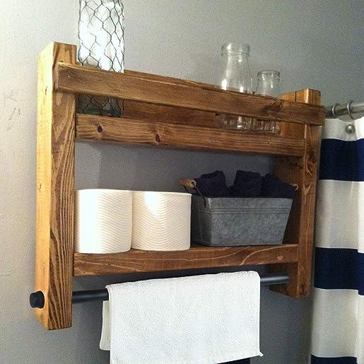 MBQQ Industrial Pipe Shelf for Bathroom Wall Mounted with Towel Racks,24 Home Decor Floating Shelving,Wine Racks,Bookshelves,Retro Brown