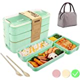Bento Box Japanese Lunch Box with Dividers 900 ml - Leakproof Eco lunchbox for Kids and Adults with Lunch Bag- BPA FREE…