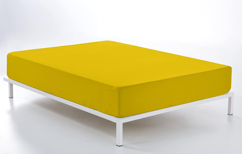 ESTELA - Sábana Bajera Ajustable Combi Color Mostaza - Cama de 180 ...