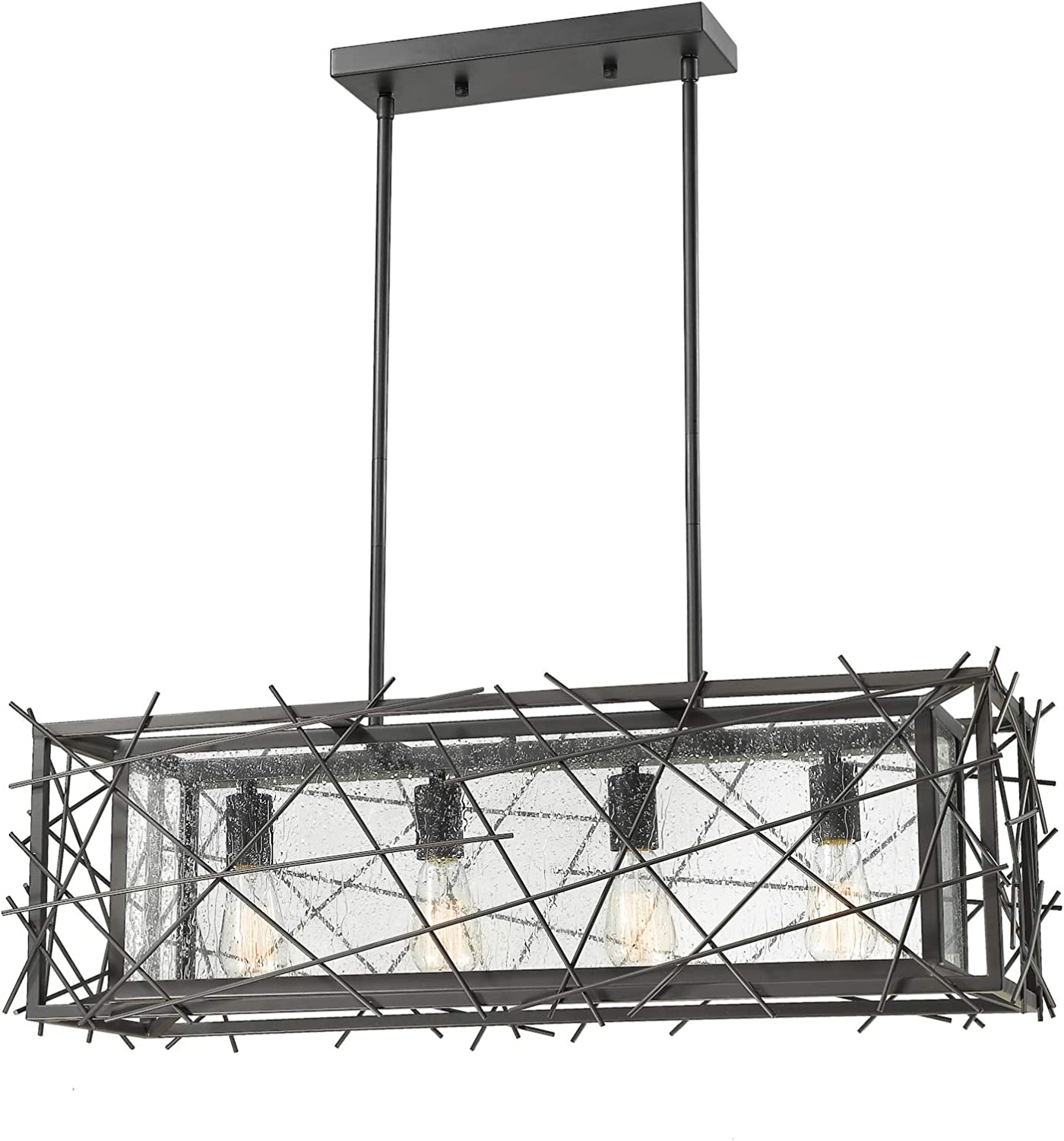 8000 4l Brz Bronze Stanwood 4 Light Single Light Source 32 Wide Single Tier Billiard Chandelier With Seedy Glass Shade