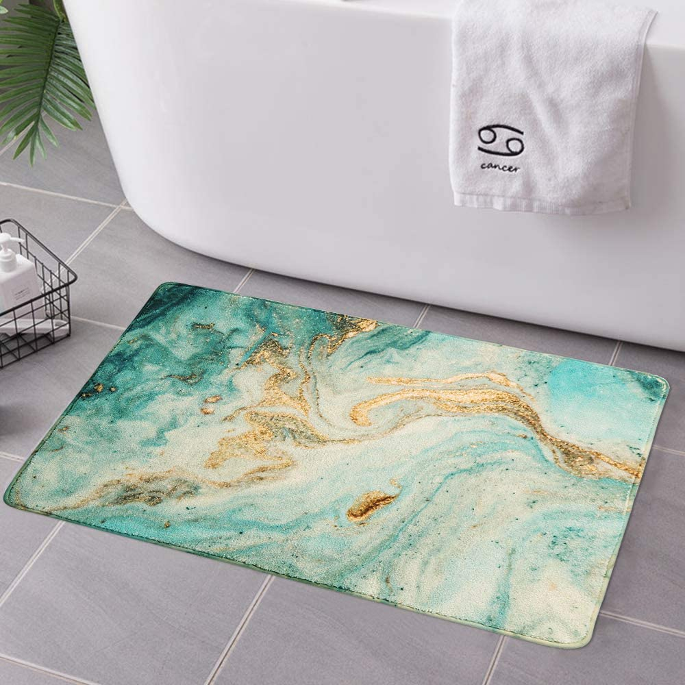 Uphome Bathroom Rugs Luxury Turquoise Marble Velvet Bath Mat 18x25 inch Non-Slip Dry Fast Bath Rug Soft Microfiber Machine-Washable Floor Rugs for Bathtub Shower