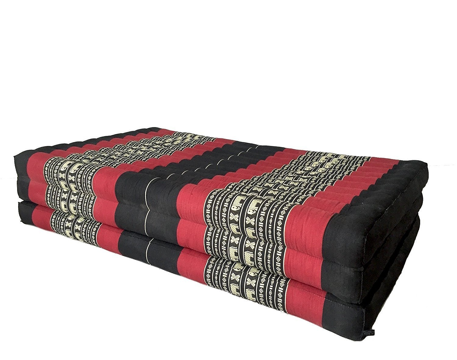 Design by UnseenThailand Thai Massage Mat, Kapok Fabric, Premium Double Stitched, 82x46x3 inches. (Black - Red)
