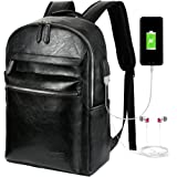 VBG VBIGER Leather Backpack for Mens Business Waterproof PU Leather Backpack