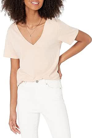 The Drop Lindsey Short Sleeve V-Neck Loose Fit T-Shirt