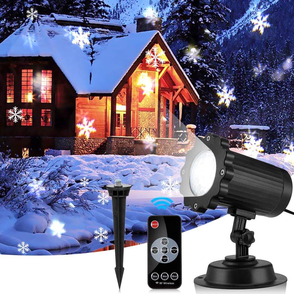EleLight Projektor Beleuchtung abwechselnde Schneeflocken Bilder mit Fernbedienung Partys, Weihnachten, Atmosphäre, Hochzeit IP65 [Energieklasse A+] Atmosphäre