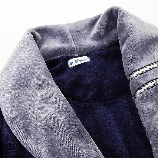 NIGHTSLEEP Albornoz de los hombres + Pantalones Franela Otoño   Invierno  Pijamas sueltos Pantalones de vestir de manga larga Conjunto de pijamas de  los ... 4ce11fe359d5