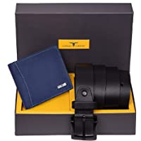 Urban Forest Brian Blue Leather Wallet & Black Casual Belt Combo Gift Set for Men