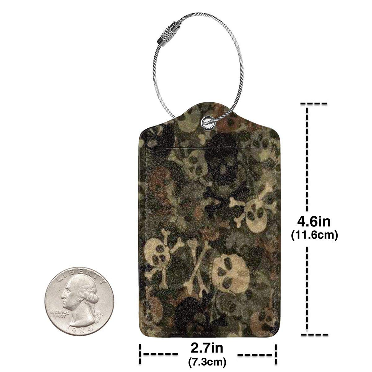3D Skull Lovers Printing Luggage Tags With Full Back Privacy Cover W//Steel Loops